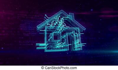 concept, maison, iot, faire boucle, animation, intelligent