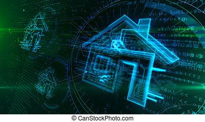 concept, maison, iot, illustration, intelligent, 3d