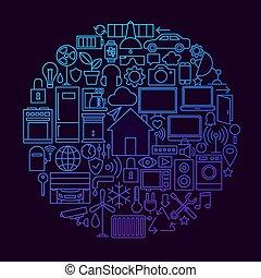 concept, maison, ligne, cercle, intelligent, icône
