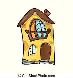 concept, maison, -, poreux, jaune, créatif, vecteur, illustration, petit, fait, cheese.