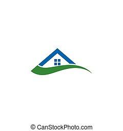concept, maison, résumé, illustration, conception, gabarit, swoosh, logo