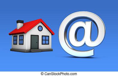 concept, maison, symbole, ligne, modèle, propriété