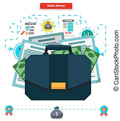 Concept Make money. Briefcase with Income
