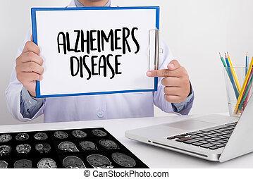 concept, maladies, maladie alzheimers, cerveau, parkinson, ...