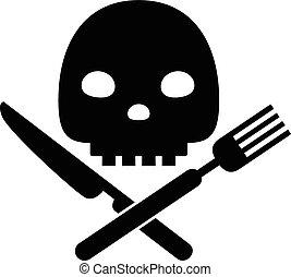 concept, manger, nourriture malsaine, dangereux, symbole, vecteur, noir, avertissement