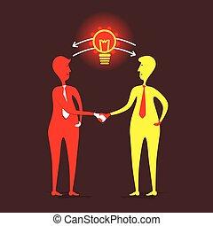concept, mannen, aandeel, idee, ontwerp, nieuw