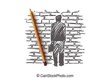 concept., mano, problema, aislado, reflexionar, callejón sin salida, muerto - extremo, dibujado, vector.