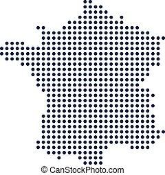concept., map., francia, vettore, disegno, digitale, puntino