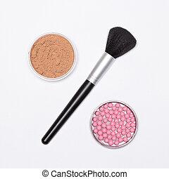 concept, -, maquillage, cent, signe vente, poudre, brosse rougissement