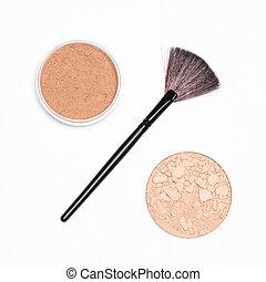 concept, -, maquillage, cent, signe vente, poudre, pots, brosse
