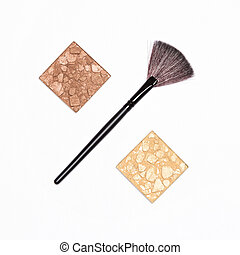 concept, -, maquillage, cent, signe vente, poudre, récipients, brosse