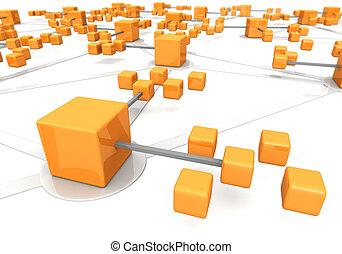 concept, marco, réseau, business, effet