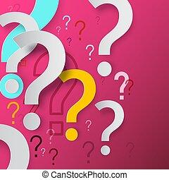 concept., markierungen, vektor, hintergrund., problem, loesung, frage, design., faq, rosa, markierung, geheimnis