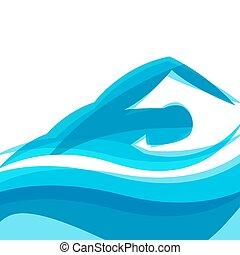 concept, marquer, résumé, illustration, stylisé, fond, publicité, sport, man., natation