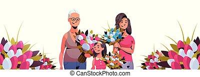 concept, mars, caractères, tulipe, bouquet, trois, jour, international, célébrer, femmes, femme, tenue, portrait, 8, horizontal, fleurs, bannière, dessin animé, générations, heureux