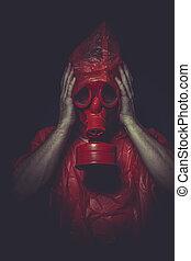 concept, masque, essence, infection, ebola, rouges, homme