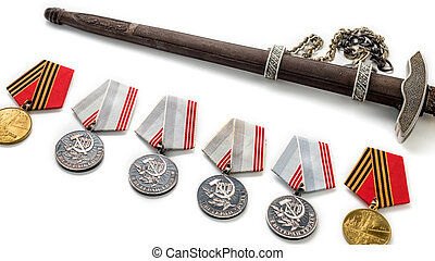 Concept May 9 St.Georges Ribbon medal award blade old photos. Victory Day. May 9.