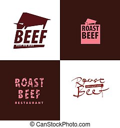 Concept meat restaurant logo. Beef silhouette, bull icon for cafe or food project emblem. Vector stock illustration