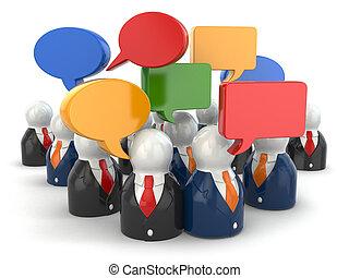 concept., medien, leute, sozial, vortrag halten , bubbles.