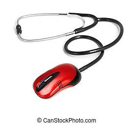 concept, medisch, computer, stethoscope, online, muis