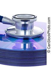 concept, medisch, stethoscope, cd's