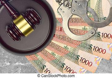 concept, menottes, judiciaire, ou, dollars, guyanese, 1000, juge, tribunal, police, action éviter, impôt, factures, desk., bribery., procès, marteau
