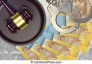 concept, menottes, judiciaire, ou, ukrainien, factures, 1, juge, tribunal, police, action éviter, hryvnia, impôt, desk., bribery., procès, marteau