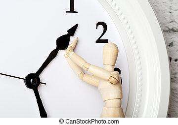 concept, menselijk cijfer, houten, veroudering, stoppen, clock., richtingwijzer, het proberen