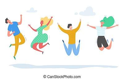 concept, mensen, dans, moderne, set, vrouwlijk, feestje, tieners, jonge, achtergrond., karakters, witte , vrolijke , illustratie, springt, students., sportende, vector, team, modieus, mannelijke , vriendschap