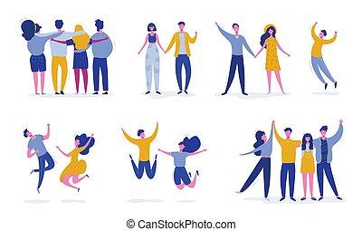 concept, mensen, dans, moderne, set, vrouwlijk, feestje, tieners, jonge, characters., karakters, vriend, vrolijke , illustratie, springt, students., sportende, vector, team, modieus, mannelijke , vriendschap