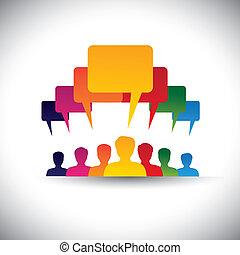 concept, mensen, graphic., personeel, vergaderingen, &, media, -, communicatie, ook, plank, leider, het motiveren, bedrijf, stem, bewindvoering, student, mensen, vertegenwoordigt, grafisch, dit, unie, enz., vector, sociaal