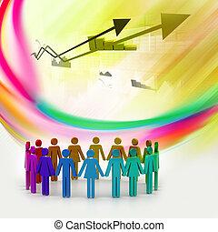 concept, mensen, scheppen, het werkteam, circle., 3d
