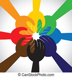 concept, mensen, teamwork, gelofte, beloven, groep, -, ook, ...