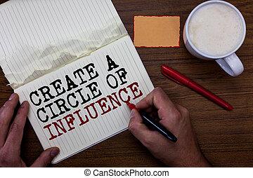 concept, mensen, tekst, kleverig, words., scheppen, motiveren, pen, schrijvende , aantekening, geschreven, anderen, influencer, cirkel, mok, rood, zijn, koffie, hand, betekenis, houden, influence., leider, handschrift