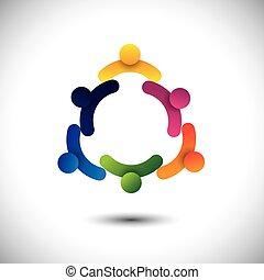 concept, mensen, vergaderingen, samen., kinderen, &, werkmannen , ook, gemeenschap, cirkel, spelend, grafisch, groepen, het op elkaar inwerken, vertegenwoordigt, school geitjes, werknemers, hebben, vector, plezier, of