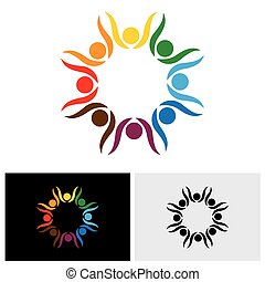 concept, mensen, vrienden, vieren, vector, levendig, feestje, logo, vriendschap, of, pictogram