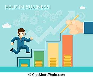 concept., mentoring, aide, business, partenariats
