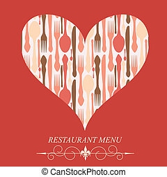 concept, menu restaurant, valentines, illustration, day., vecteur