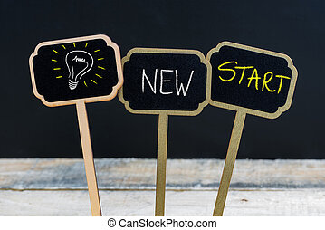 Concept message NEW START and light bulb as symbol for idea