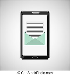 concept, message, smartphone, email, icône