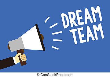 concept, message texte, unité, dehors, haut-parleur, groupe, faire, écriture, team., mieux, tenue, porte voix, parler, bleu, loud., signification, fond, prefered, homme, personne, écriture, rêve, ou