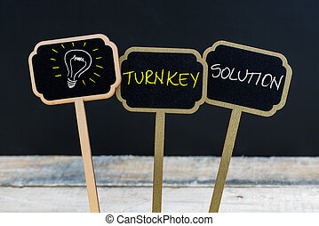 Concept message TURNKEY SOLUTION and light bulb as symbol...