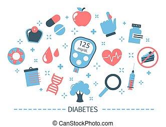 concept., mesurer, sucre, diabète, sanguine, glucometer