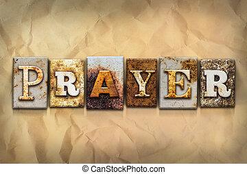 concept, metaal, geroeste, type, gebed