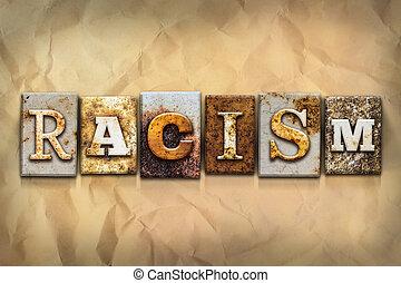 concept, metaal, geroeste, type, racisme