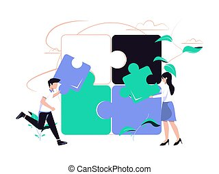 Concept metaphor. People try to connect the puzzle elements. Flat design style vector illustration. cooperation, partnership vector.