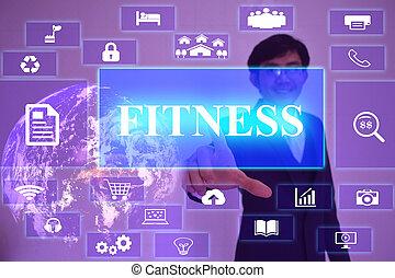 concept, meublé, écran, présenté, virtuel, élément, toucher, fitness, homme affaires, nasa