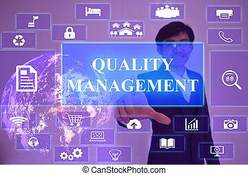 concept, meublé, écran, présenté, virtuel, élément, toucher, homme affaires, gestion, qualité, nasa