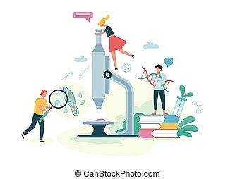 concept., microscopio, scienza, persone, biologia