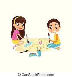 concept, mignon, peu, gosses, feuille, séance, papier, peintures, plancher, illustration, grand, vecteur, développement, enfant, education, dessin
